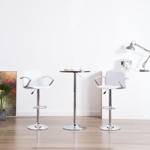 vidaXL Barstolar med armstöd 2 st vit konstläder
