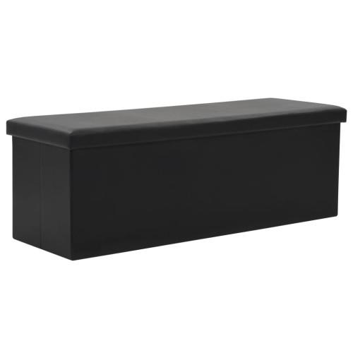 vidaXL Förvaringsbänk hopfällbar konstläder 110x38x38 cm svart
