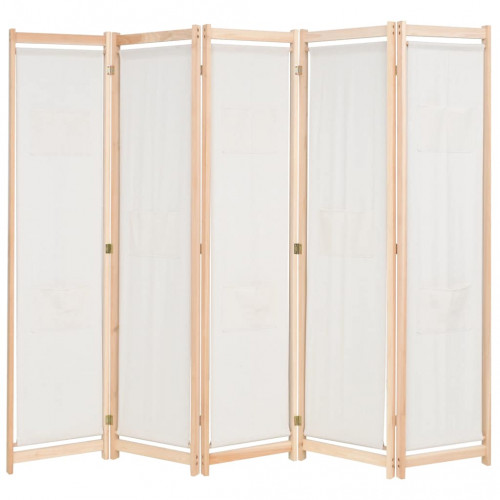 vidaXL Rumsavdelare 5 paneler gräddvit 200x170x4 cm tyg