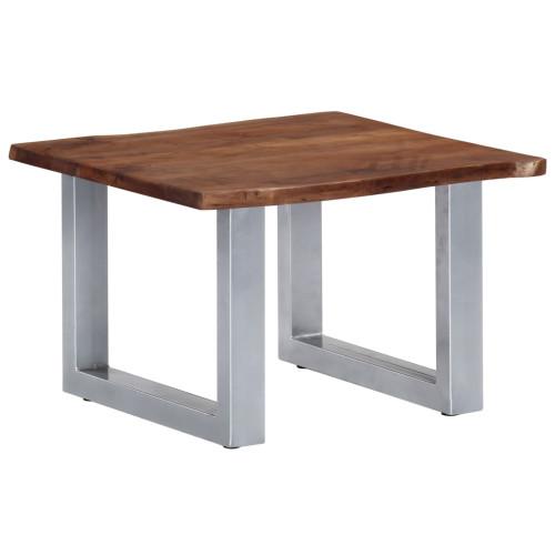 vidaXL Soffbord med levande kanter 60x60x40 cm massivt akaciaträ