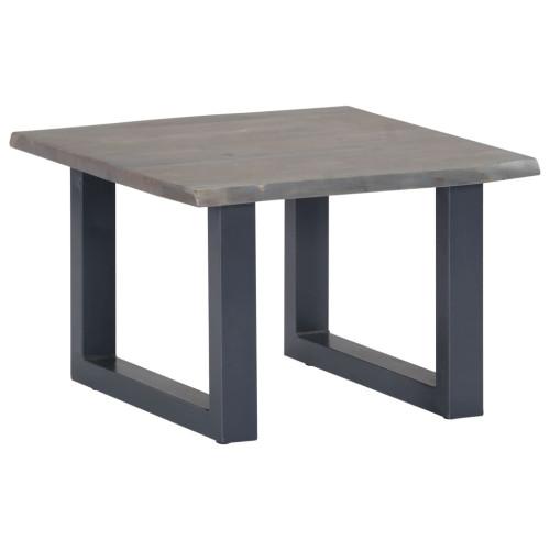 vidaXL Soffbord med levande kanter grå 60x60x40 cm massivt akaciaträ