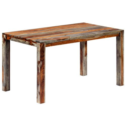 vidaXL Matbord grå 140x70x76 cm massivt sheshamträ