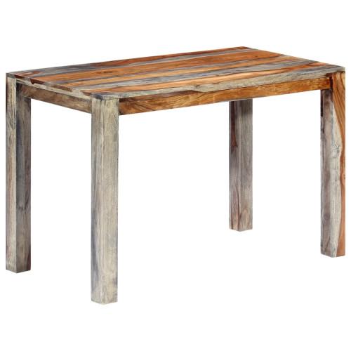 vidaXL Matbord grå 118x60x76 cm massivt sheshamträ