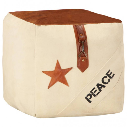 Dream Living Sittpuff beige 40x40x40 cm bomullskanvas och läder