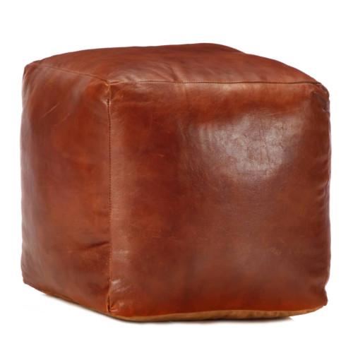 Dream Living Sittpuff brun 40x40x40 cm äkta getskinn