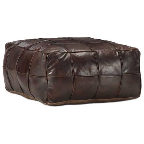 Dream Living Sittpuff mörkbrun 60x60x30 cm äkta getskinn