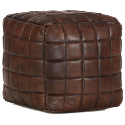 vidaXL Sittpuff mörkbrun 40x40x40 cm äkta getskinn
