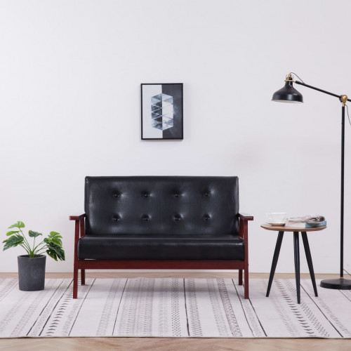 vidaXL 2-sitssoffa svart konstläder