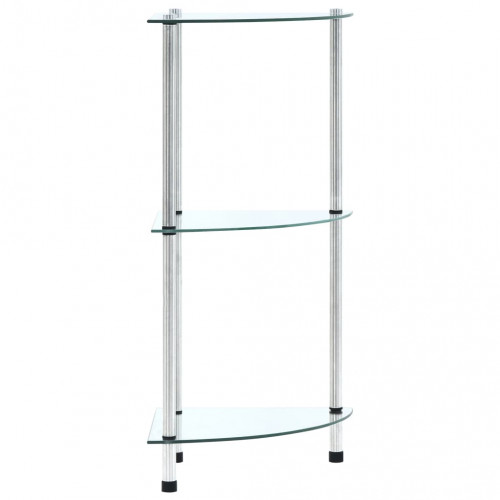 vidaXL Hylla 3 hyllplan transparent 30x30x67 cm härdat glas