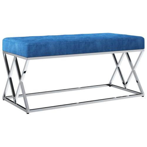 vidaXL Bänk 97 cm blå sammetstyg och rostfritt stål