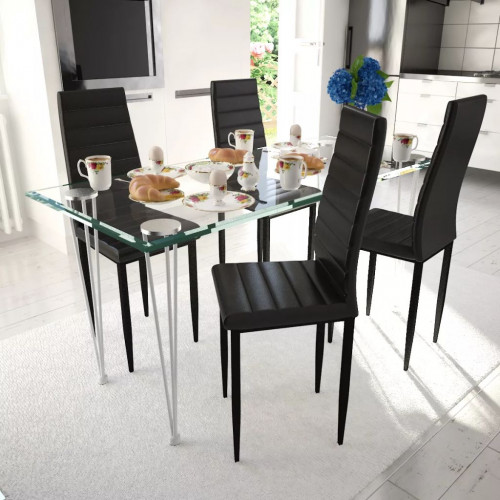 vidaXL Matbord i glas med 4 st svarta slimmade stolar
