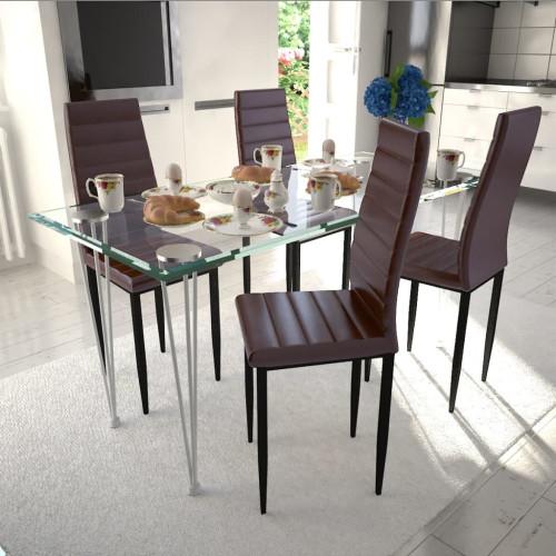 vidaXL Elegant matgrupp, 4 stolar och 1 glasbord, brun