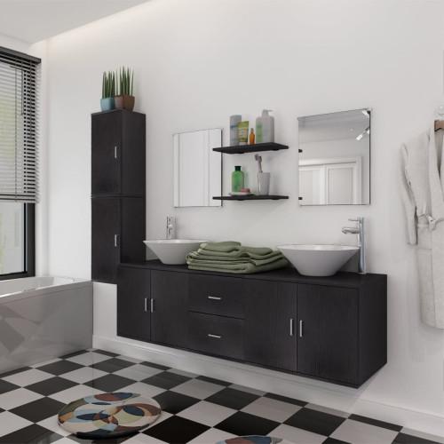 vidaXL Badrumsmöbler med handfat och kran svart 11 delar