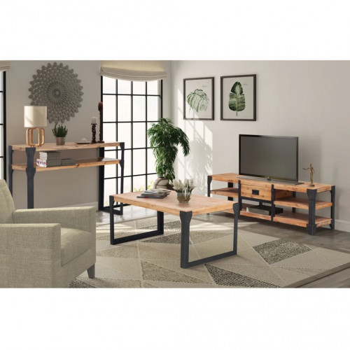 vidaXL Vardagsrumsmöbler 3 delar massivt akaciaträ