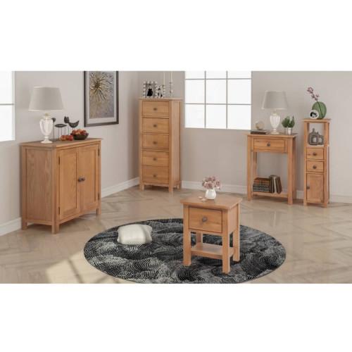 vidaXL Vardagsrumsmöbler 5 delar massiv ek