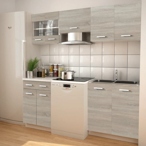 vidaXL 5 delars köksskåp set med köksfläkt ekimitation