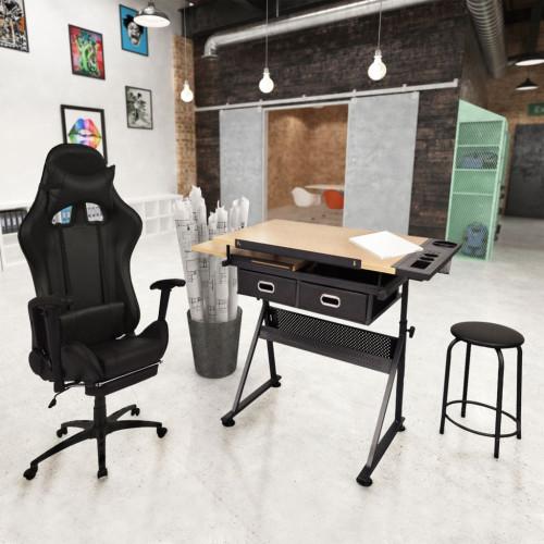 vidaXL Ritbord med justerbar bordsskiva och racing kontorsstol