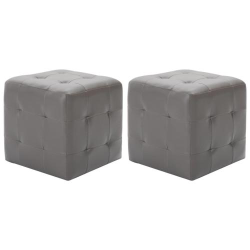 vidaXL Sittpuff 2 st grå 30x30x30 cm konstläder