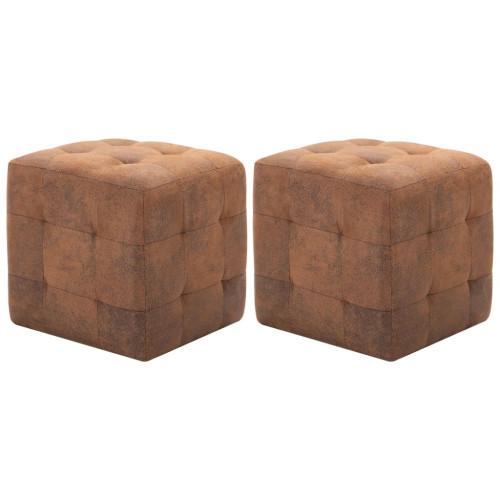 vidaXL Sittpuff 2 st brun 30x30x30 cm konstmocka