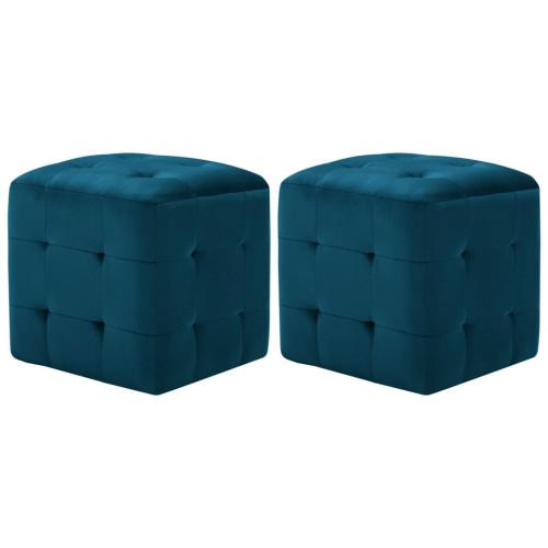 Dream Living Sittpuff 2 st blå 30x30x30 cm sammetstyg