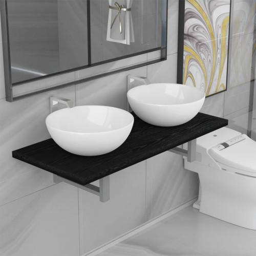 vidaXL Badrumsmöbler 3 delar keramik svart