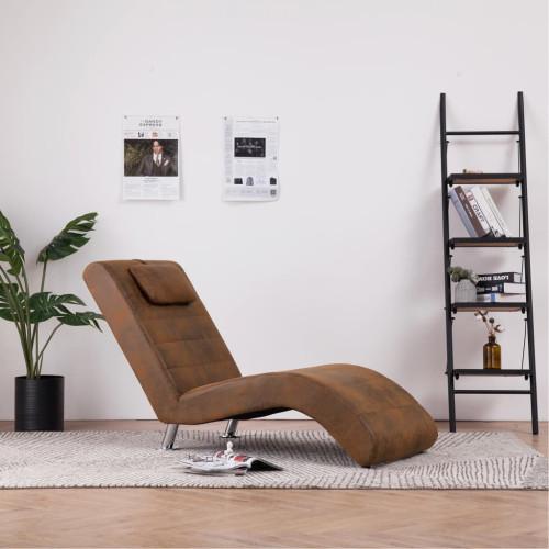 Dream Living Schäslong med kudde brun konstmocka