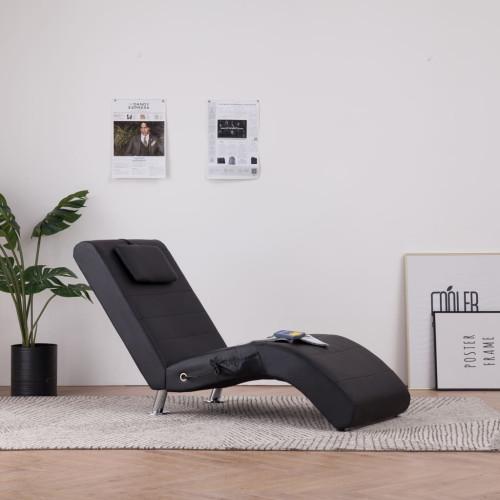Dream Living Massageschäslong med kudde svart konstläder