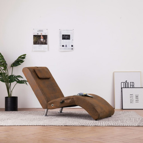 vidaXL Massageschäslong med kudde brun konstmocka