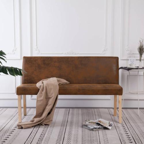 vidaXL Bänk 139,5 cm konstmocka brun