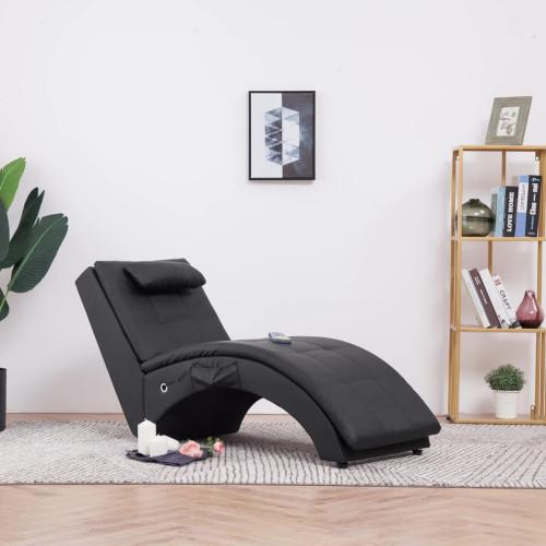 vidaXL Massageschäslong med kudde brun konstläder