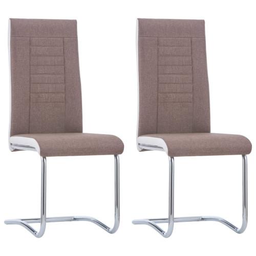 vidaXL Fribärande matstolar 2 st brun tyg