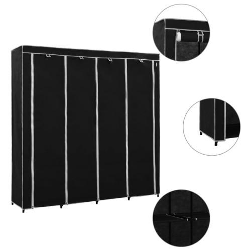 Dream Living Garderob med 4 fack svart 175x45x170 cm