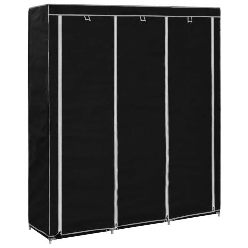 Dream Living Garderob med fack och stänger svart 150x45x175 cm tyg