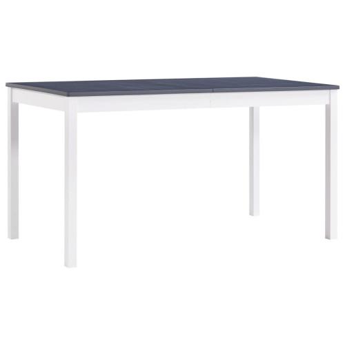 vidaXL Matbord vit och grå 140x70x73 cm furu