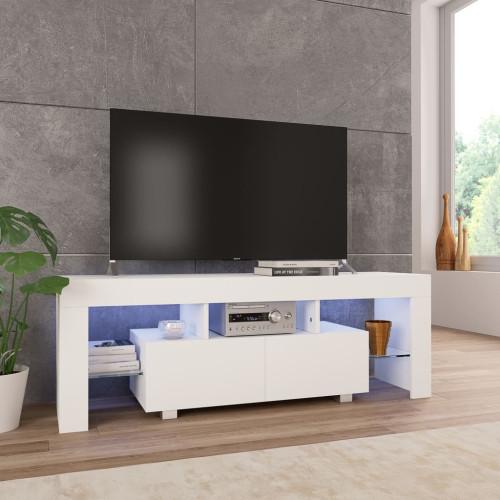 vidaXL TV-bänk med LED-lampor högglans vit 130x35x45 cm