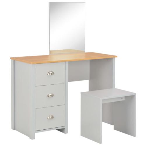 vidaXL Sminkbord med spegel och pall grå 104x45x131 cm