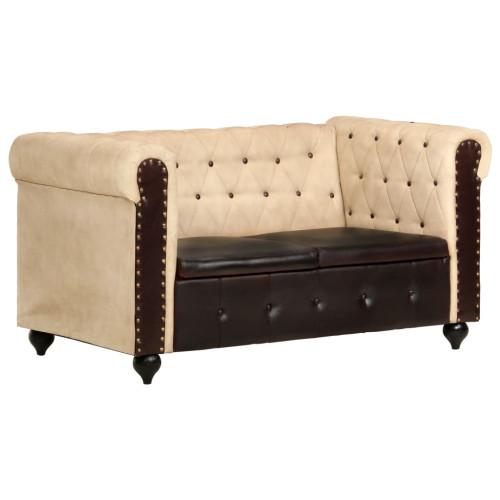vidaXL Chesterfieldsoffa 2-sits brun äkta läder