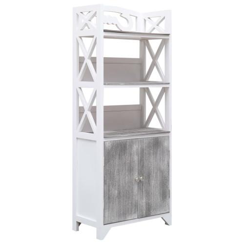 vidaXL Badrumsskåp vit och grå 46x24x116 cm paulownia