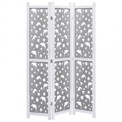 vidaXL Rumsavdelare 3 paneler grå 105x165 cm massivt trä