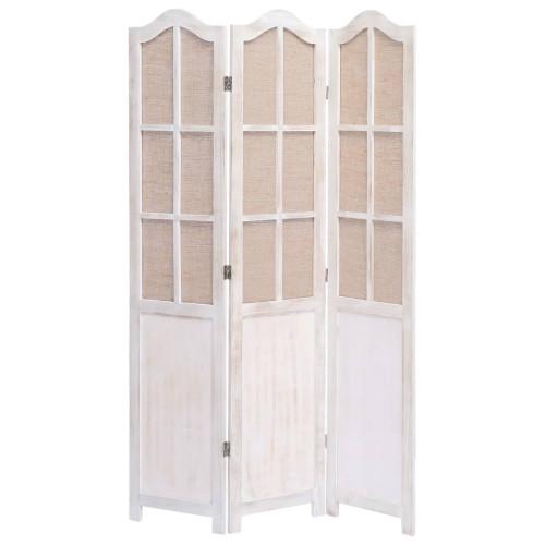 vidaXL Rumsavdelare 3 paneler vit 105x165 cm tyg