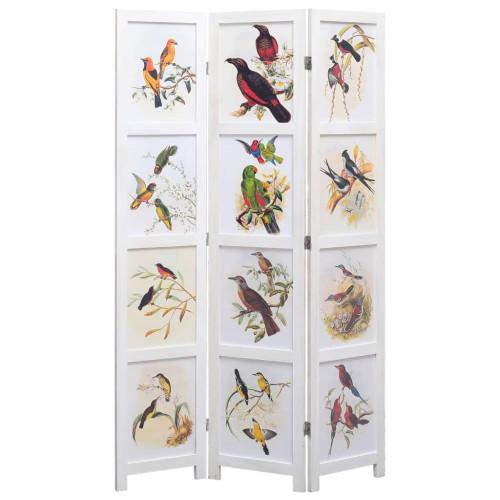 vidaXL Rumsavdelare 3 paneler vit 105x165 cm fåglar