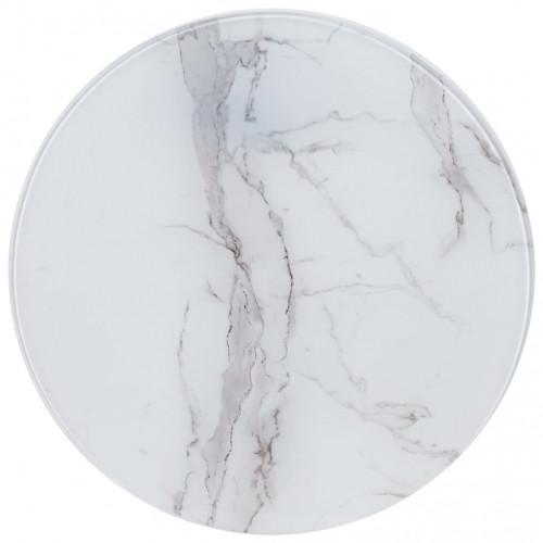 vidaXL Bordsskiva vit Ø50 cm glas med marmortextur