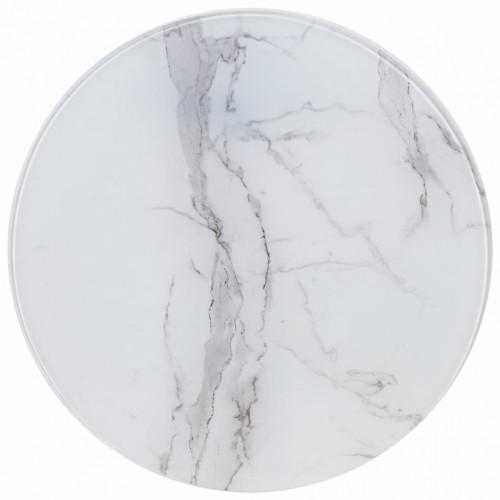 vidaXL Bordsskiva vit Ø70 cm glas med marmortextur