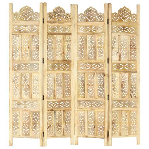vidaXL Rumsavdelare 4 paneler handsnidad 160x165 cm massivt mangoträ