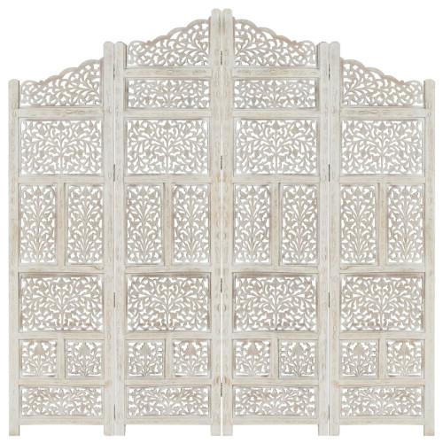 vidaXL Rumsavdelare 4 paneler handsnidad vit 160x165 cm mangoträ