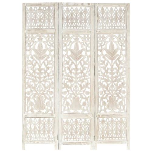 vidaXL Rumsavdelare 3 paneler handsnidad vit 120x165 cm mangoträ