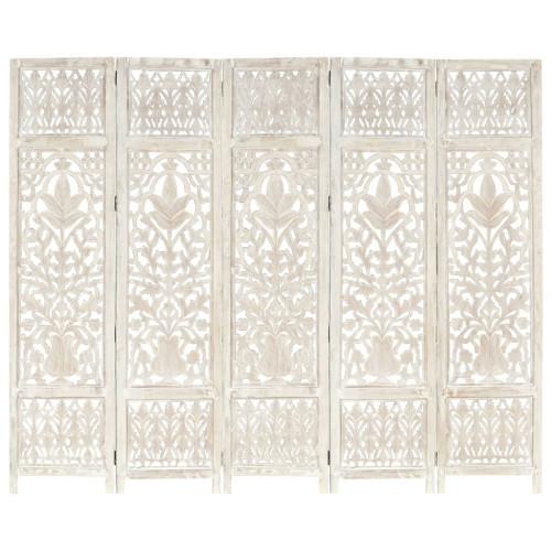 Dream Living Rumsavdelare 5 paneler handsnidad vit 200x165 cm mangoträ