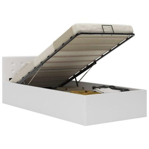 vidaXL Sängram hydraulisk förvaring vit konstläder 90x200 cm