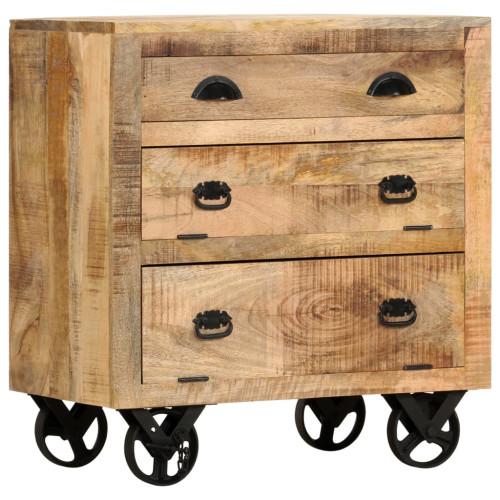 vidaXL Byrå med hjul 70x40x75 cm massivt mangoträ