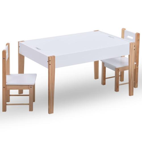 vidaXL Matbord och stolar för barn 3 delar griffeltavla svart och vit